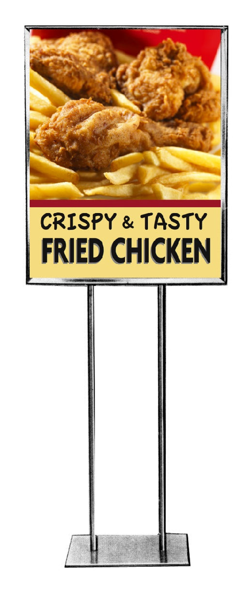"Fried Chicken Floor Stand Stanchion Sign 22""W x 28""H"