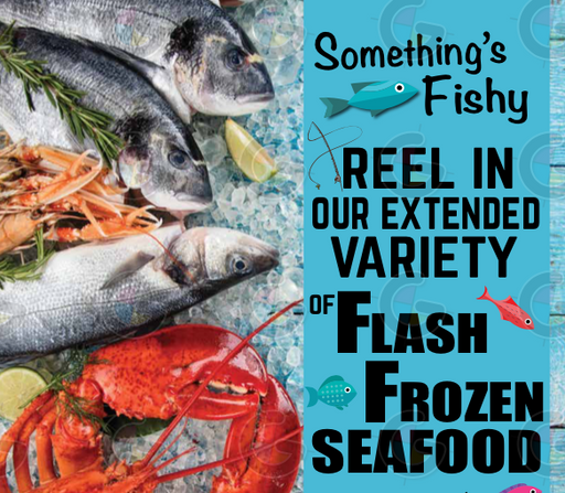 frozen seafood ceiling dangler hanging sign