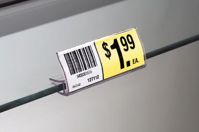 "Price Tag Label Holder for Glass Shelving-2 7/8""- 25 pieces"