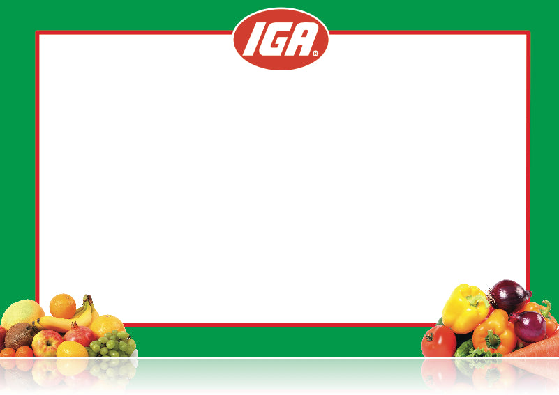 "IGA Supermarket Shelf Signs- Produce Department Laser Shelf Signs-11""w x 7""H -100 signs"