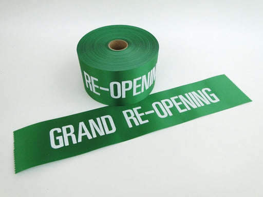 "Re-Grand Opening Ribbon with White Letters-4""W (50 yards)"