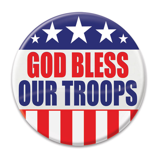 "God Bless Our Troops Buttons-2"" round -60 pieces"