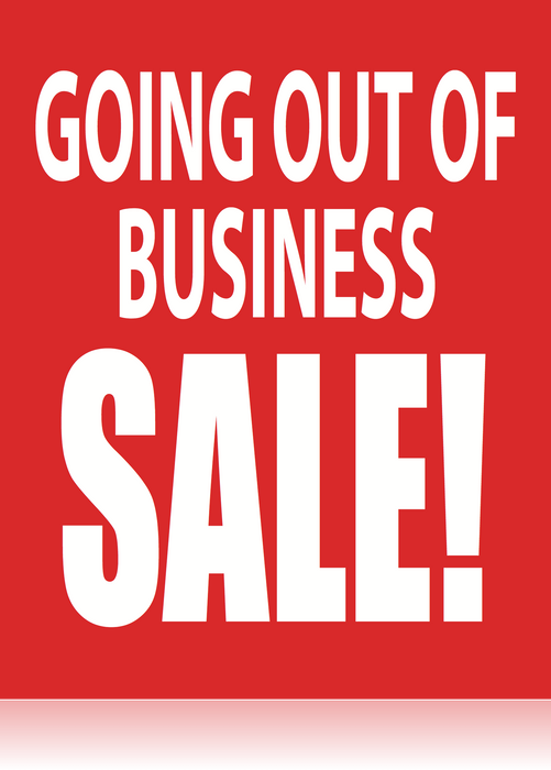 Going Out of Business Posters-Floor Stand Stanchion Signs-Value Pack