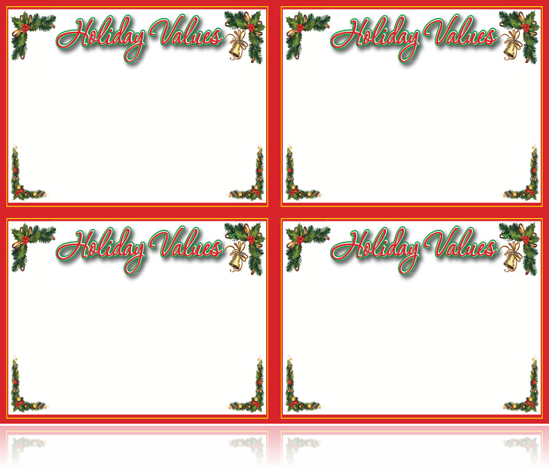 Holiday Values Laser Compatible Price Sign Cards Christmas retail
