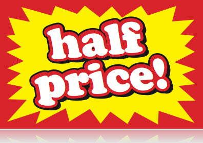 Half-Price Shelf-Signs-Price Cards-5.5 x 3.5- 100 signs