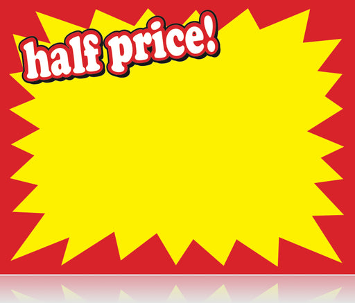 Half-Price Shelf Signs-Price Cards 5.5 x 7- 100 signs