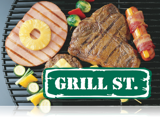 BBQ Grill Street Hanging Sign Ceiling Dangler