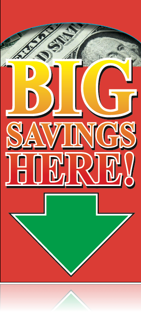 Big Savings Ceiling Danglers Hanging Sign