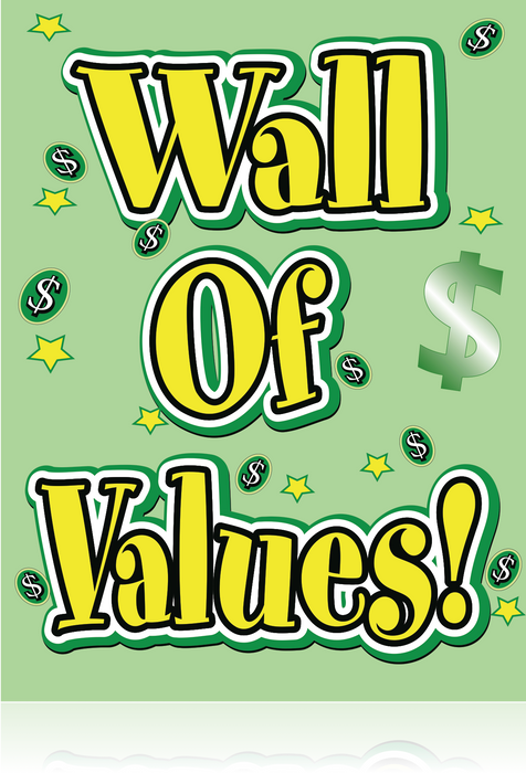 "Wall of Values Hanging Sign-22"" W x 28"" L"