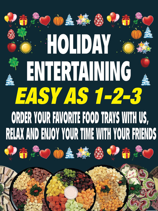 "Holiday Entertaining Deli Window Sign or Wall Poster-36"" W x 48"" H"