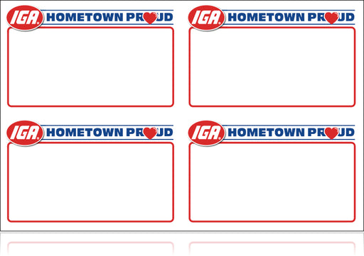 IGA Hometown Proud Shelf Signs- 4 up Price Card