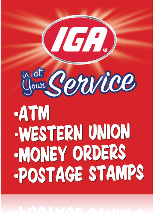 IGA  Supermarket At Your Service Stanchion Sign