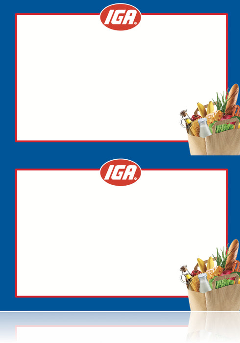 IGA Shelf Signs- Grocery Department Laser Compatible Shelf Signs- 2 up- 200 signs