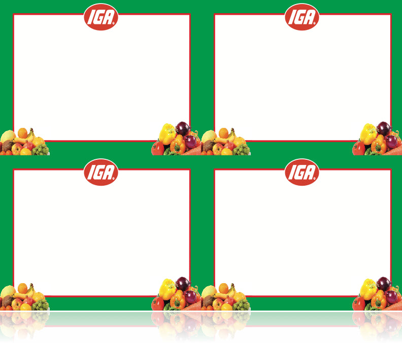 IGA Supermarket Signs-Produce Department Laser Compatible Shelf Signs- 4 up-400 signs
