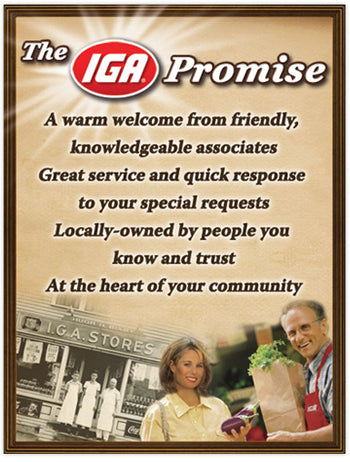 "IGA Promise Window Signs -48"" H x 36"" W- 2 pieces"