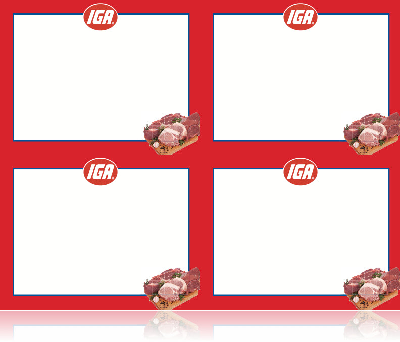 IGA Shelf Signs- Meat Department Laser Compatible Shelf Signs- 4 up-400 signs
