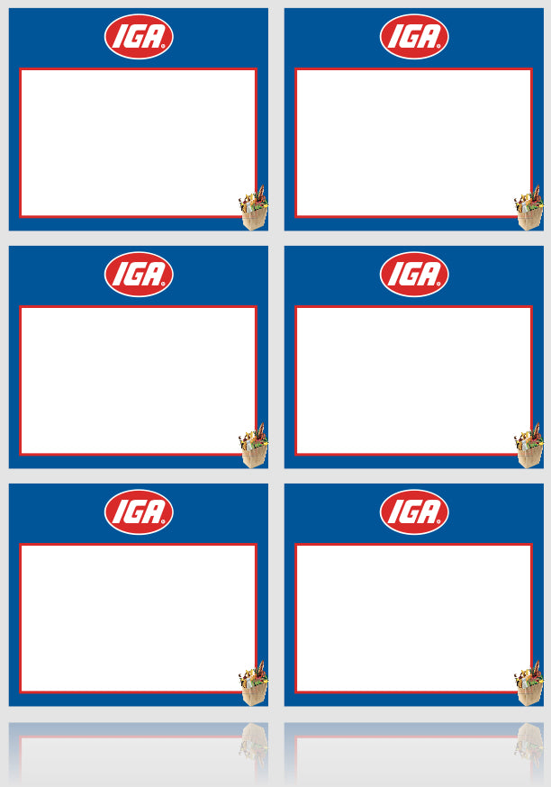 "IGA Shelf Signs-Laser Compatible Shelf Signs-8.5""W x 11""H- 6 up per sheet- 6000 signs"