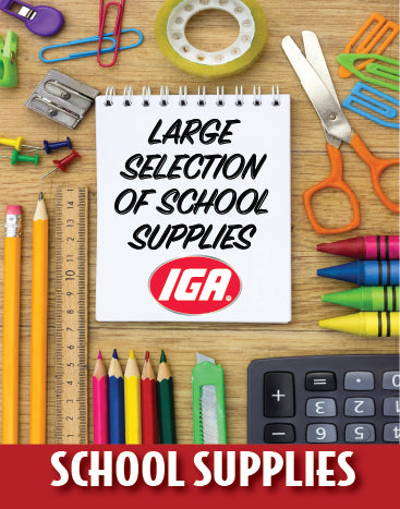 "IGA Back to School  Window Signs -48"" H x 36"" W- 2 pieces"