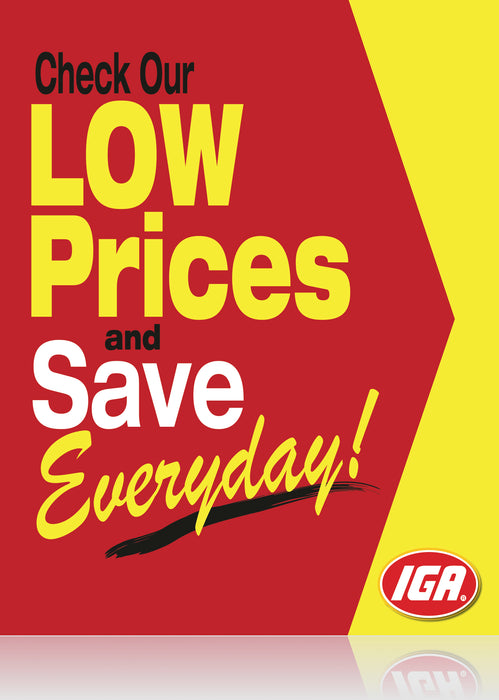 "IGA Everyday Low Prices Window Signs -48"" H x 36"" W- 2 pieces"