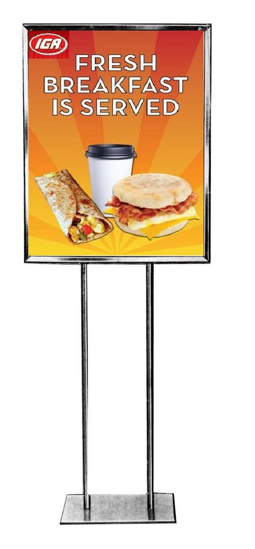 IGA Breakfast Floor Stand Stanchion Sign