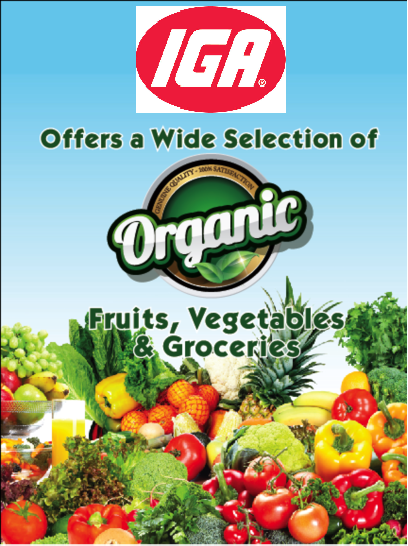 "IGA Organic Aisle Violators Shelf Signs- 4""W x 4""H -50 signs"
