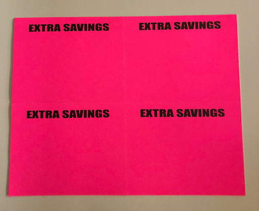 Pink Extra Savings Shelf Signs Price Cards Laser Compatible Stock-400 signs