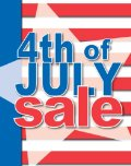 July 4th Sale Posters-Floor Stand-Stanchion Signs-4 pieces