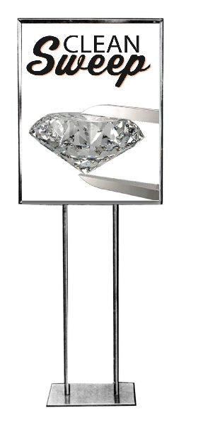 "Jewelry Store Clean Sweep Floor Stand Stanchion Signs-22""x28"""