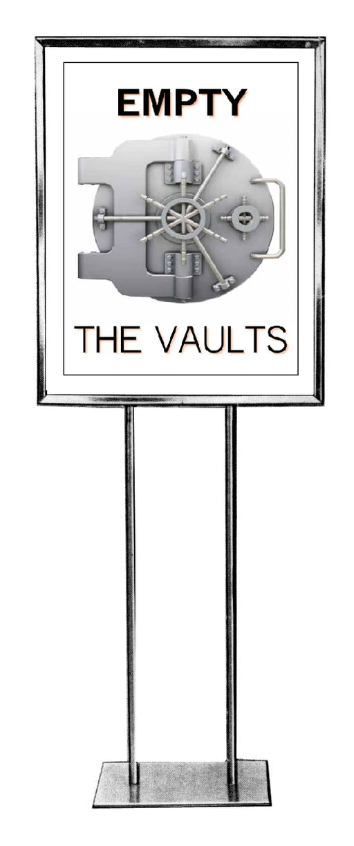 "Jewelry Store-Empty The Vaults Sale Floor Stand Stanchion Signs-22""x28"""