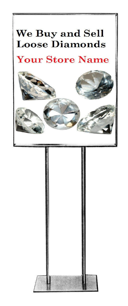 "Jewelry Store Diamonds Floor Stand Stanchion Signs-22""x28"""
