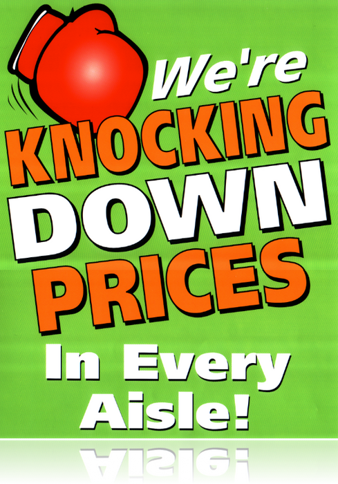 "Knock Down Prices Shelf Signs- 4""W x 4""H -50 signs"