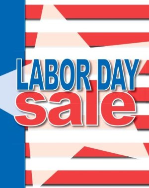 Labor Day Sale Posters- Floor Stand-Stanchion Signs-4 pieces