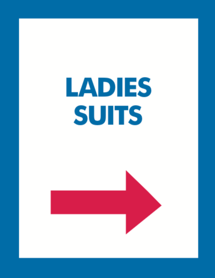 Thrift or Retail Floor Stand Stanchion Signs-ladies suits