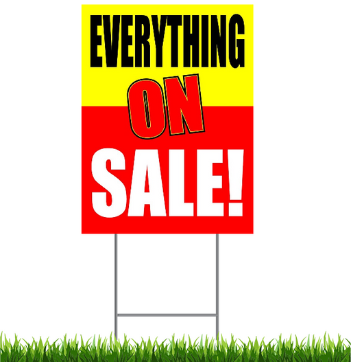 "Everything on Sale Lawn-Yard Signs for Retail-24"" x 18"""