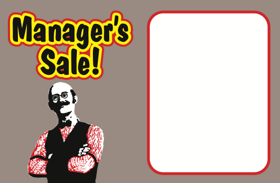 Manager's Special Shelf Signs- Price Cards-100 signs - screengemsinc