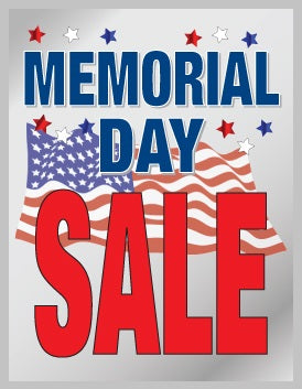 "Memorial Day Sale Window Signs Poster-36"" W x 48"" H"