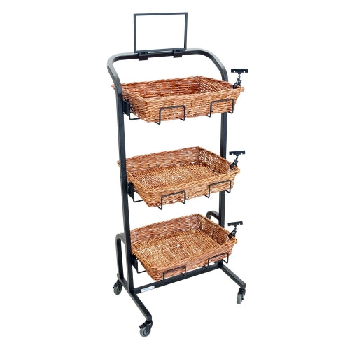 "Mobile Black Steel Basket Stand - 24""L x 20""D x 53""H"