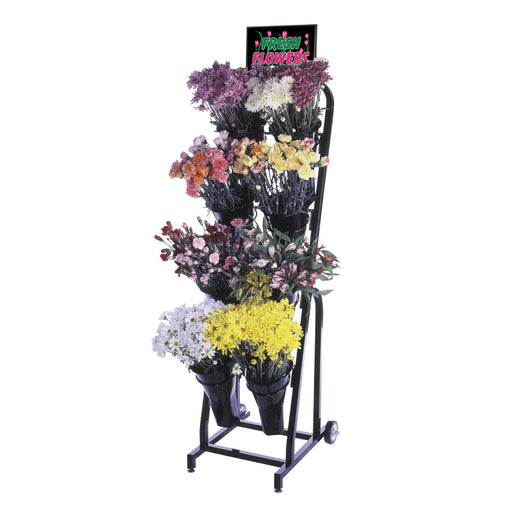 Black Metal 8 Vase Floral Cart Mobile Merchandiser Fixture