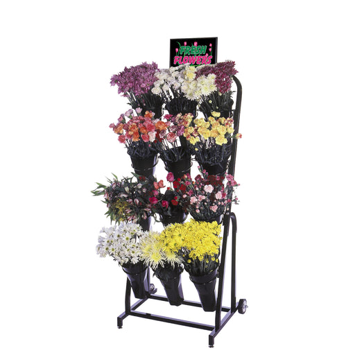 Black Metal 12 Vase Floral Cart Mobile Merchandiser Fixture