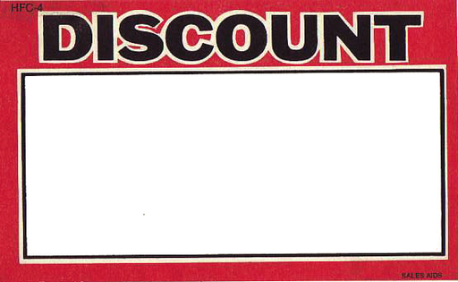 "Discount Shelf Signs 11""W x 7""H-100 signs"