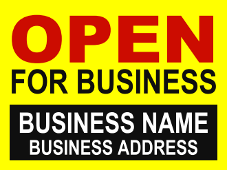 "Open for Business Window Sign-Posters-22"" H x 28"" W"