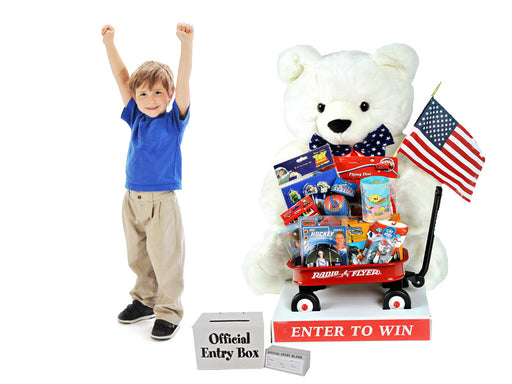 Patriotic Bear with Toy Filled Wagon -4' Tall-Giant Sweepstakes Giveaway Item