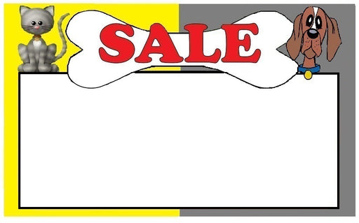 "Pet Sales Shelf Signs Price Cards 11"" W x 7"" H -100 signs"