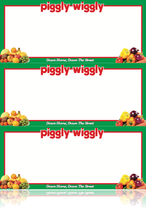 Piggly Wiggly Grocery Store Produce Shelf Signs-3 up per sheet-Laser Compatible -300 signs