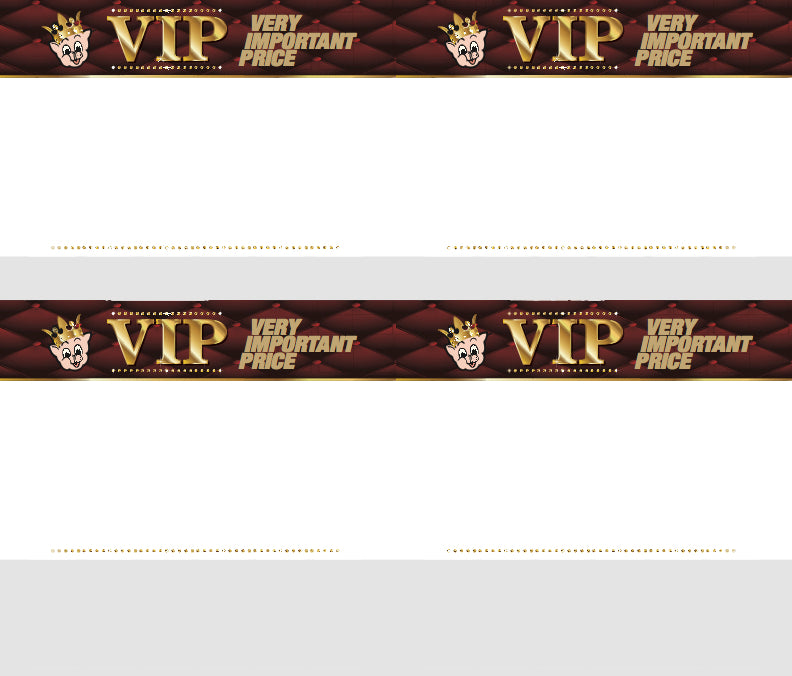 Piggly Wiggly VIP Shelf Signs-Price Cards-4 up-400 signs