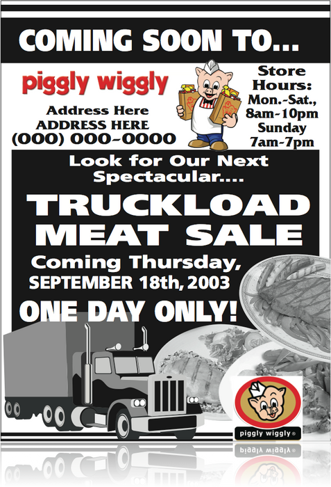 "Piggly Wiggly Window Sign Poster-Custom Printed Meat Sale 36""W x 48""L"
