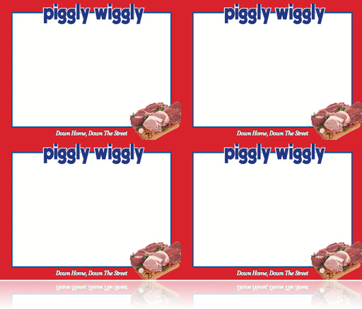 Piggly Wiggly Grocery Store Shelf Signs- Meat Department Laser Compatible - 4 up-400 signs