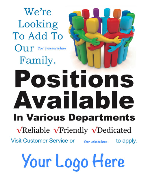 "Now Hiring Postions Available Window Signs Poster-36"" W x 48"" H"