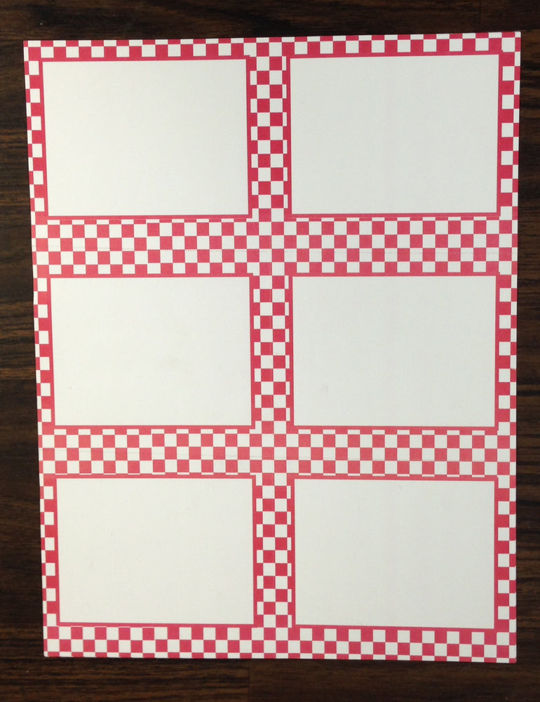 Red Checkerboard Shelf Signs-Laser Printer Compatible- 600 signs