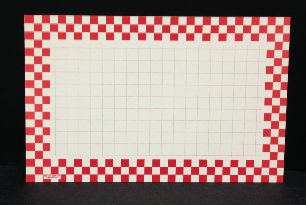 "Red Checkerboard Shelf Signs-Retail-Price Cards-5.5"" x 3.5""-100 signs"